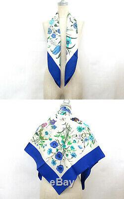 100 Auth GUCCI 100% Silk Scarf Floral Pattern V. Accornero Blue Made In Italy