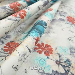 10 Metres Of Pattern Floral Flower Blue Red Print Soft Velvet Upholstery Fabric