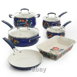 10-Piece The Pioneer Woman Floral Pattern Ceramic Nonstick Cookware Set