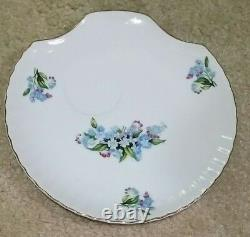 12 Vintage Blue Floral Pattern China6 China Snack Plates & 6 Cups31/10E Japan