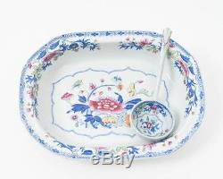 1820s Spode New Stone Painted 10.75 Vegetable Bowl & Spoon Pattern 2886 Floral