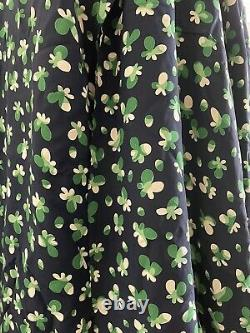1940s green navy blue floral butterfly print cold rayon fabric with patterns