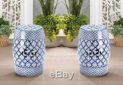 2 Ceramic Patio Stools, Tables, Plant Stands White & Blue Medallion Pattern