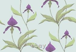 2 Rolls Cole & Son Contemporary Orchid Wallpaper 66/4027 Green Violet On Blue