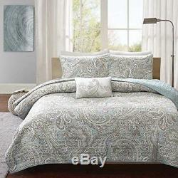 5 Piece Blue Khaki Paisley Floral Pattern Coverlet King/ Cal King Set Large