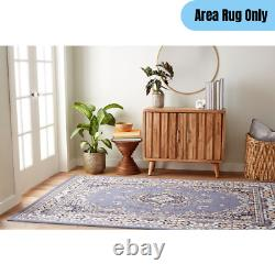 5 x 7 feet Traditional Area Rug Bordered Floral Oriental Medallion Pattern Blue