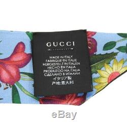 AUTHENTIC GUCCI Neck bow Flora floral pattern silk blue Calfskin 476482 3