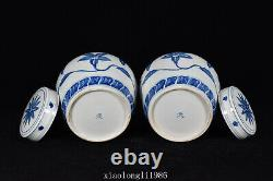 A pair China Ancient porcelain Ming Dynasty Blue and white Floral pattern jar