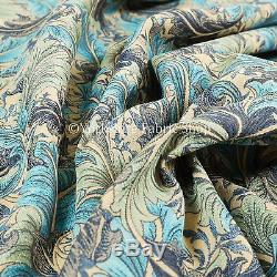 All Over Floral Pattern Teal Blue Colour Chenille Upholstery Curtain Fabrics