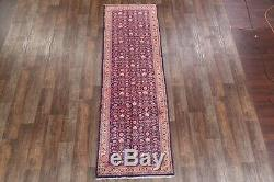 All-Over Pattern Navy Blue Floral 3x10 Mahal Sarouk Persian Oriental Rug Wool