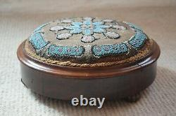 Antique Circular Beadwork Footstool With Blue Floral Pattern, Round Footstool