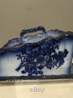 Antique Flow Blue Covered Cheese Dish Keeper Floral Pattern Large