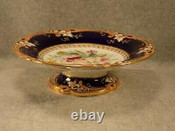 Antique JOHN RIDGWAY Footed Dish Floral Pattern, Incised & Gilt, Superb Colors