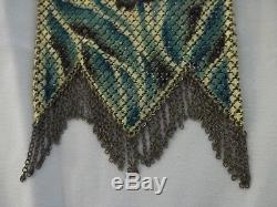 Antique Mandalian Mesh Purse with Blue Floral Pattern In Excellent Condition