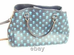 Authentic Coach Purse Navy Blue Rose Pattern Crossbody Handbag Removable Strap