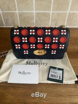 Authentic Mulberry Darley Small Midnight Blue With Floral Pattern, Gold Hardware