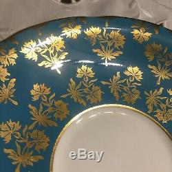 Aynsley Corset Shape Teacup and Saucer Teal Turquoise Gold Floral Pattern L059