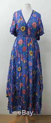 BNWT SPELL Ladies Blue Floral Pattern Halter Strap Open Back Maxi Dress XS