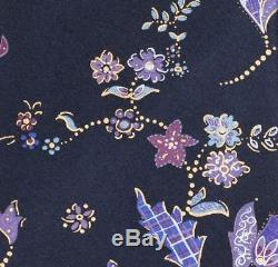 BRIONI Handmade Navy Blue Floral Pattern Silk Tie Pocket Square Set NEW