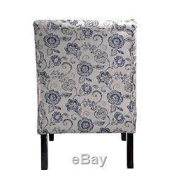 Blue Flora Pattern Accent Slipper Chair Sleek Armless Design with Sturdy Frame