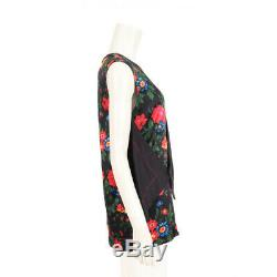 CELINE one-piece dress floral pattern silk black red, blue and green