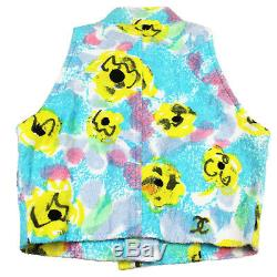 CHANEL Flower Pattern Best Tops 38 Blue Yellow Pink Pile France Auth #O450 M