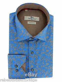 CLAUDIO LUGLI Flower Print Men's Fitted Cotton Shirt CP5993 Blue Small