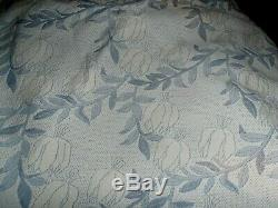 COVERLET LL BEAN King size bedspread blue floral Arts & Crafts pattern Portugal