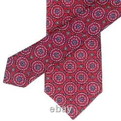 Canali Recent Red Tie Blue Black Floral Medallion Pattern 100% Silk Italy