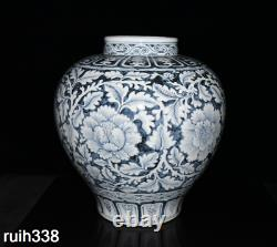 Chinese Ming Dynasty Blue and white Twine peony Floral pattern pot