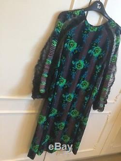 Christopher kane blue with green floral pattern net sleeves rouch detail size 14