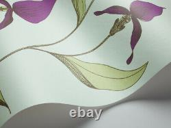 Cole & Son New Contemporary Orchid Wallpaper 66/4027 Green Violet On Blue