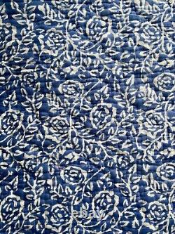 Cologne Cotton Bed Spread Quilt Blue White Pattern Double King Size Floral Home