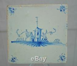 Delft Tile Dutch Round House with perimeter Floral Pattern