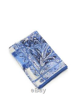 ETRO Stole Paisley floral pattern wool silk blue white