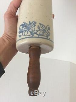 Early 1900s Antique Blue and White Floral Pattern Stoneware Rolling Pin (BC)