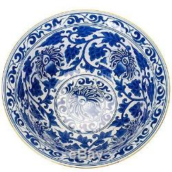 Elegant Porcelain Serving Bowl with Blue and White Floral Pattern and Brass Trim