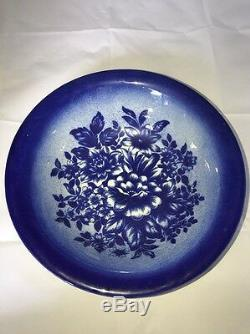 Empress Staffordshire England Flow Blue Pitcher And Bowl Floral Pattern