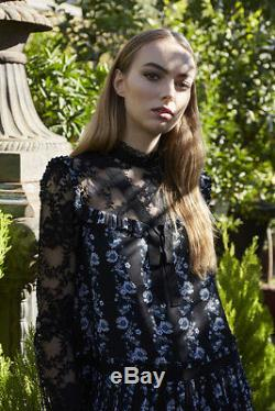 Erdem H&M Floral Patterned Blouse With Lace Bow Black Blue UK 8 10 12 BNWT