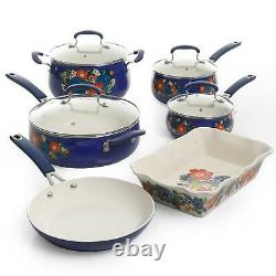 FLORAL PATTERN CERAMIC NONSTICK Pioneer Woman Kitchen Cookware Set Home 10 Piece