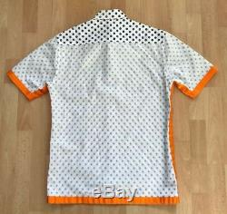 FRED PERRY x RAF SIMONS EMBROIDERED FLORAL PATTERN SHIRT S / M white orange blue