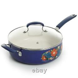 Floral Pattern Ceramic Nonstick 10 Piece Cookware Set The Pioneer Woman Blue