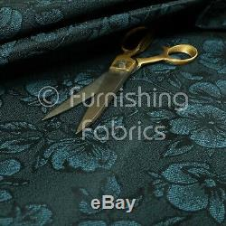 Floral Pattern Lightweight Chenille Navy Blue Colour Upholstery Curtain Fabrics