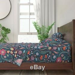 Floral Pattern Paisley Pink And Blue 100% Cotton Sateen Sheet Set by Roostery