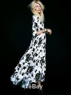 Free People S First Kiss Original Pattern Color Maxi Dress White Gray Black Blue