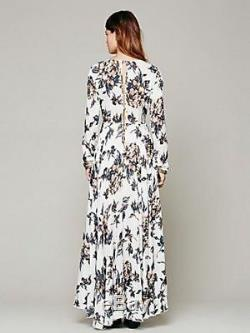 Free People S First Kiss Original Pattern Color Maxi Dress White Gray Blush Blue