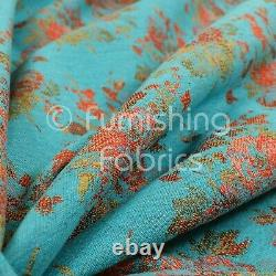 Full Floral Pattern Chenille In Teal Red Green Colour Quality Furnishing Fabric