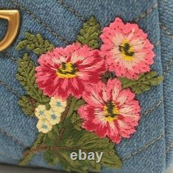 GUCCI Authentic GG Marmont Flower pattern Rare Pouch Blue X Pink New from Japan