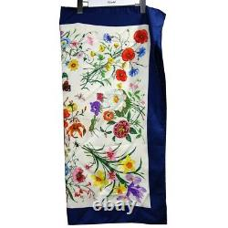 GUCCI Logo Flower Insect Pattern 100% Silk Off-white Navy Women's Scarf Stole