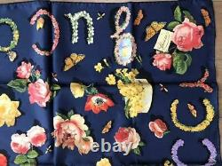 GUCCI Scarf Stole Silk 100% Floral Pattern Navy Multicolor 86cm Women Italy